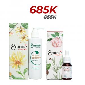 Limited edition Dầu dưỡng mờ thâm, dưỡng trắng và gel rửa mặt Emmié sạch sâu, ngăn ngừa mụn