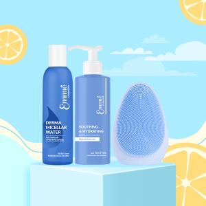 Bộ sản phẩm làm sạch:  Máy Rửa Mặt, 1 Nước Tẩy Trang & 1 Gel Rửa Mặt