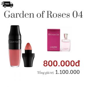 Combo Garden of Roses 04: Son Lancôme MATTE màu 272 Energy Peach –hồng đào,Nước hoa Lancôme MIRACLE 5ML