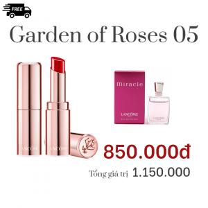 Combo Garden of Roses 05: Son Lancôme L'ABSOLU MADEMOISELLE SHINE Màu 525 - As good as shine,Nước hoa Lancôme MIRACLE 5ML