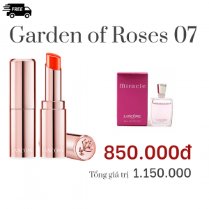 Combo Garden of Roses 07: Son  L'ABSOLU MADEMOISELLE SHINE Màu 105- Happy to shine,Nước hoa Lancôme MIRACLE 5ML