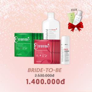 COMBO BRIDE-TO-BE (10 Mặt nạ Emmie bất kỳ, Vitabrid C12 Face Powder ,Vitabrid C12 Scalp Shampoo)