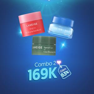 LANEIGE-Combo Mặt nạ ngủ môi & Mặt nạ ngủ Cica & Gel dưỡng ẩm Water Bank Gel Cream (8g,10ml, 10ml)